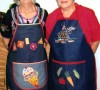 1. Aprons-Applique and surface stitching. 2. Delena Fenwick (l) and Denise Steinke (r) 3. Unknown